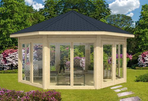 Gartenpavillon Modell Rügen mit sieben Fenstern