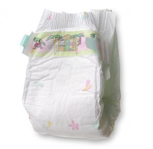 baby diaper with integrated hygiene bag and / or integrated humidity towels