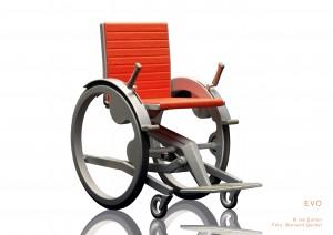 Sieger James Dyson Award Schweiz 2011 – EVO: Ian Echlin aus Luzern hat einen Rollstuhl mit neuartigem Grundkonzept entwickelt, das viele Probleme des herkömmlichen Rollstuhls löst.