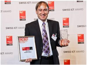 Markus Gross wurde für seine Forschungstätigkeit am Departement Informatik und bei Disney Research Zurich mit dem diesjährigen «Swiss ICT Award» geehrt (Bild: SwissICT).
