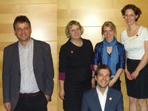 Die neuen Gewinner von venture kick: Martin Odersky (Scala Solutions) und das BOOKBRIDGE Team mit Carsten Rübsaamen und Susanne Wechsler
